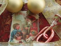 Christmas card, antique horn