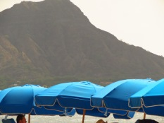 Blue umbrellas by Diamond Head