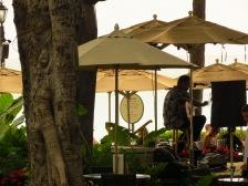 Beige umbrellas on Oahu