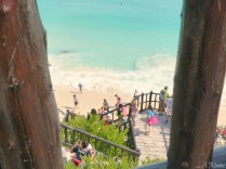 Descending to the beach from the ruins of Tulum