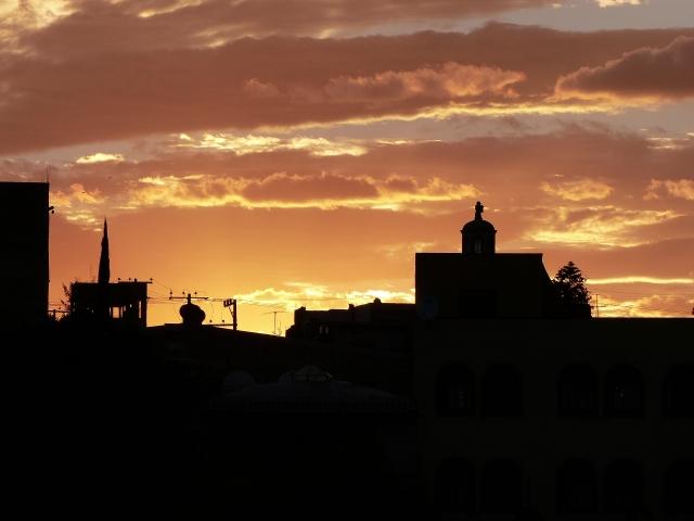 sunset on casa roof